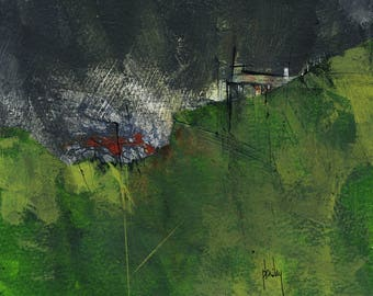 Original moorland cottage painting by Paul Bailey: Bryn gwyrdd