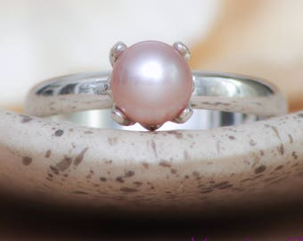 Pink Pearl Engagement Ring - Sterling Silver Pearl Wedding Ring - Simple Pearl Ring - Minimalist Pearl Bridal Ring - June Birthstone Ring