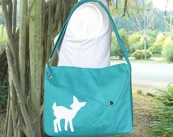 On Sale 20% off Turquoise green cotton canvas messenger bag / shoulder bag / deer messenger /diaper bag / fawn sewn