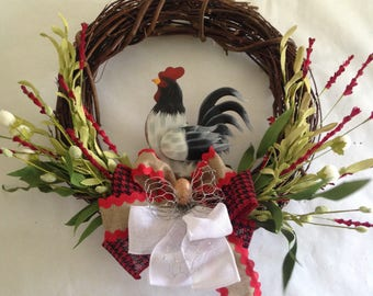 Rooster Decoration-Rooster Wreath-Country Wreath-Farm Decor-Farm Wreath