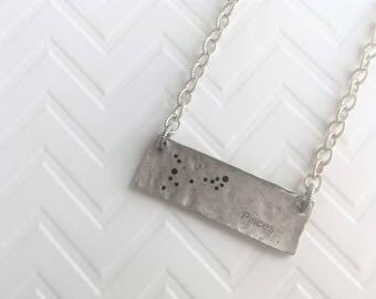 Pisces Necklace, Silver Zodiac Necklace Pisces, Pisces Constellation Necklace, Silver Bar Necklace, Astrology Necklace, Zodiac Gifts Pisces