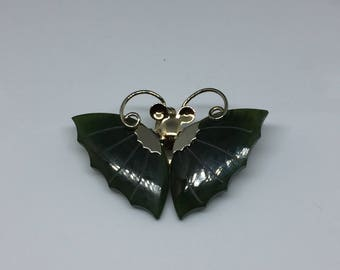 Jade and Silver Tone Butterfly Brooch Vintage