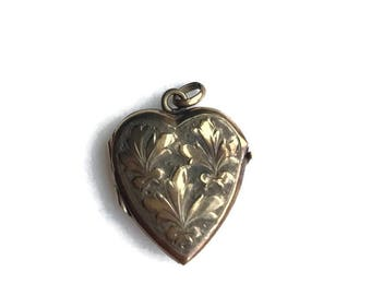 1920s Edwardian Gold Filled Heart Locket Necklace with Photos Inside