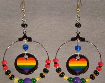 Rainbow Heart Beaded Hoop Earrings - Love Jewelry - I love rainbows jewellry
