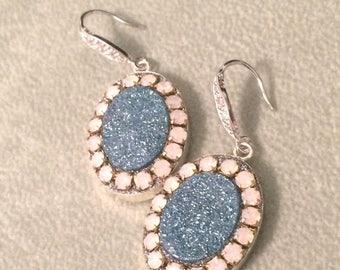 SUMMER Sale Blue Aura druzy and pink opal crystal sterling silver earrings