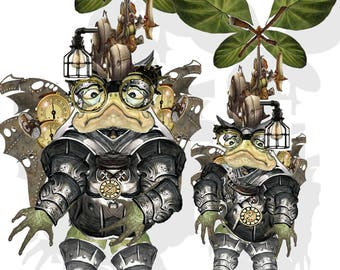 printable Steampunk time travel Toads articulated paper dolls from the Time travel Series craft project collage sheet