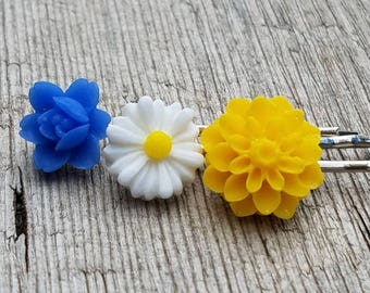 Flower Hair Pin Set / Boho Flower Hair Accessory / Flower Bobby Pins / Girls Hair Accessory / Resin Flower Hair Clips / Boho Hair Pins