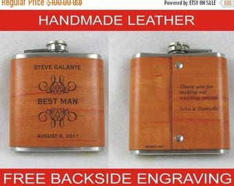 ON SALE 5 Groomsmen Flask with Hand Dyed Engraved Leather Wrap - with FREE Engraved Message on Backside!
