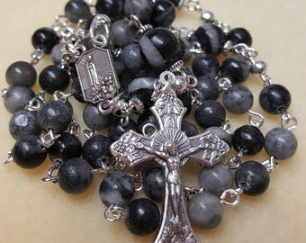 Network Agate Fatima Rosary Beads