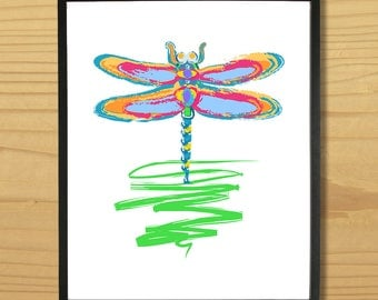 Dragonfly Wall Art, Dragon Fly Print, Bug Art, Insect Print, Watercolor, Cute Critter Print, Digital Download