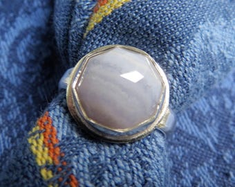 Rose Cut Blue Lace Agate in Argentium Sterling Ring, Size 7