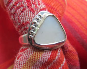 White Opal Free Form Triangle in Granulated Argentium Ring Size 6 & a Half
