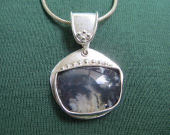 Plume Agate in Granulated Argentium Sterling Pendant with Bail
