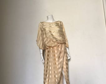 70s Vintage Sheer Silk Satin Ivory Disco Goddess Outfit med.
