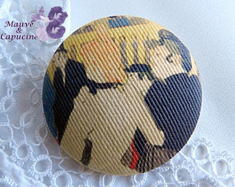 Fabric button, printed part of a table of Toulouse lautrec, 1.57 in / 40 mm