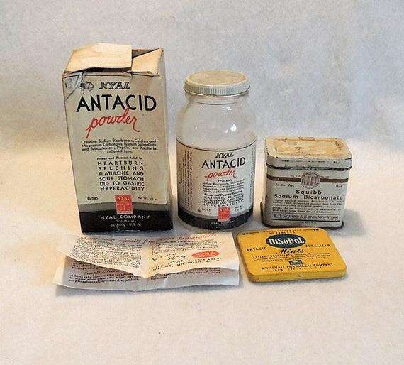 Vintage Antacid Medicine Bottle & Tins.. Nyal With Box, Squibb And BiSoDol (Lot #2)