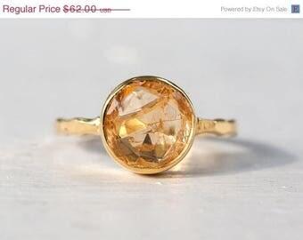 40 OFF - Citrine Ring - November Birthstone Ring - Gemstone Ring - Stacking Ring - Gold Ring - Round Ring