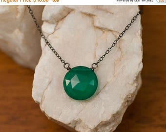 40 OFF - Green Onyx necklace - Oxidized Silver Necklace - Gemstone necklace  - Round Stone Necklace - Gift for Her