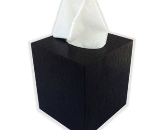 Tissue box cover cube square botique size fits Kleenex and Puffs boxes in black thermal oak wood veneer
