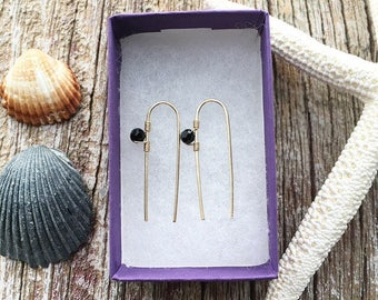 Black Crystal Earrings, Gold Black Earrings, Gold Black Jewelry, Black Crystal Jewelry, Minimal Earrings