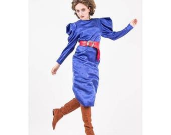 FLASH SALE... Vintage Hanae Mori silk dress / 1980s Cobalt blue silk damask maxi dress / Puff dramatic peaked sleeves / Butterfly pattern /