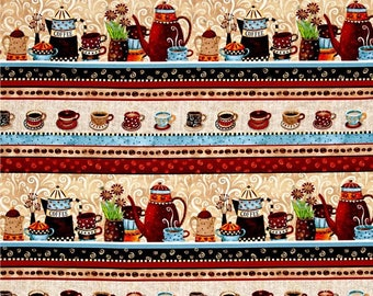 Coffee House Coffee Stripe premium cotton fabric by Debi Hron for Henry Glass Co BTY - stripe runs lengthwise