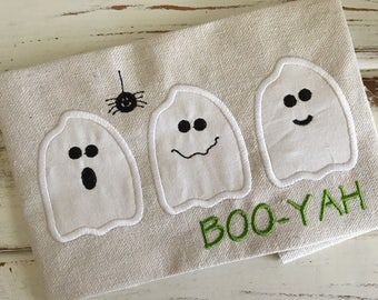 Ghosts Boo-Yah Halloween Applique Embroidery Design 5x7 6x10 8x8