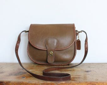 Vintage Coach Bag // Coach Saddle Bag NYC Tabac Tan // Coach Saddlery Crossbody Purse Hangbag