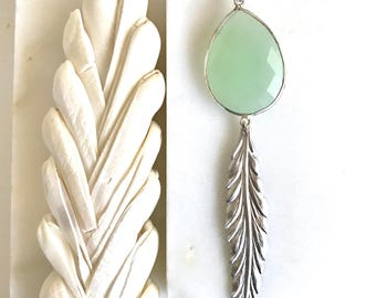 Long Silver Leaf and Mint Green Chalcedony Necklace. Pendant Necklace. Druzy Necklace. Boho Necklace. Jewelry. Gift. Holiday Gift .
