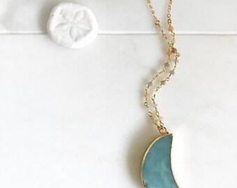 Bohemian Pendant Necklace. Long Aqua Amazonite Moon Slice Necklace. Mint Stone Boho Jewelry. Layering Necklace. Gift. Geode Long Necklace.