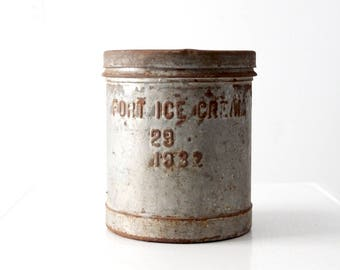 Fort Ice Cream metal bucket with lid circa 1930s