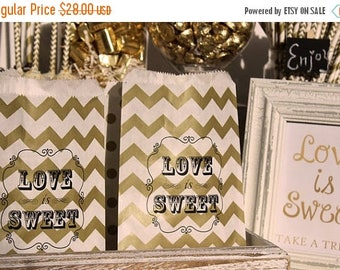 "GLAM SALE 60 Personalized Wedding Favor Bags - Bridal Shower Favor Bags - Personalized Party Candy Bags - ""Love is Sweet"" - Names and Date"