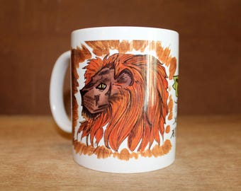 "C.S. Lewis Narnia ""We are all between the paws of the true Aslan"" Ceramic Mug - Heat-Press Sublimation of Original Watercolor  Artwork"