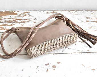 Handwoven and Leather Purse in Taupe and Beige.  Rope strap and Tassel finish.  One of a Kind and Ready to Ship