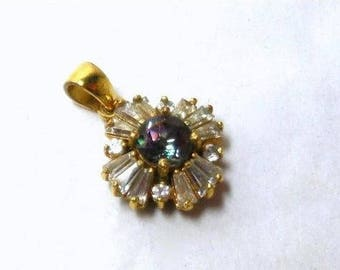 Vintage Mystic Topaz and CZ Pendant Modern Blue Purple Green Sparkler Baguettes Art Deco Great Gift for your Chain.