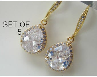 Bridesmaid Earrings, Set of 5 Pairs, Five Bridesmaid Earrings,Rose Gold Earrings, Bridesmaid Jewelry, Gold Bridesmaid Jewelery, Teardrop