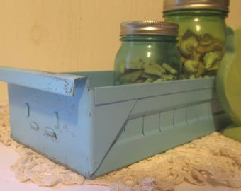 Vintage Industrial Metal Parts Drawer Bin Cabinet Organizer Box  Storage Drawers Upcycled Aqua Blue