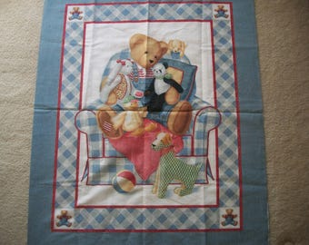 Chair Bear Fabric Quilt Panel by Daisy Kingdom New