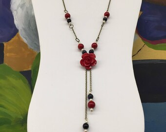 CA Flower Beaded Statement Necklace_Red