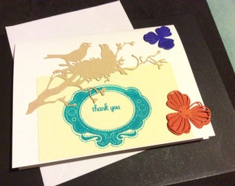 Thank You stamped card witha birds nesr two birds and flowers, friendship card, handmade, hand stamped 3D flowers