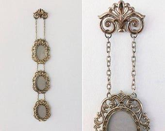 Vintage 3 in 1 Gold Oval Filigree Picture Frames