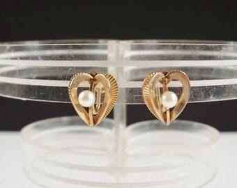 Vintage Van Dell 12kt GF Screw Back Heart Real Pearl Earrings