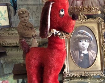 He's Been Around Awhile Vintage Red Plush Carnival Prize Dog