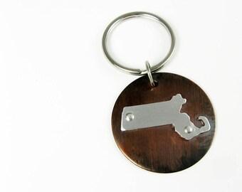 Massachusetts Keychain - United States of America State Shape Key Chain - Moving Gift