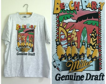 vintage 1980s Miller Beach Party beer graphic novelty tee L