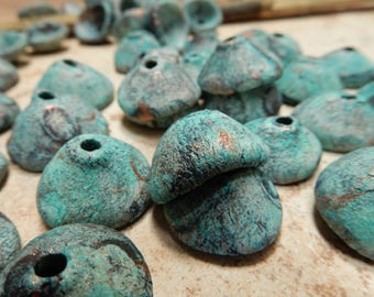 8 Stoneware pottery bead pods, bead caps. rustic primitive earthy organic. dirty black. turquoise copper patina #4766