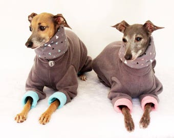 Italian Greyhound Grey + Aqua or Blush Jammies with Aqua or Blush Pink Triangles Print jersey lined Snood/Neck Warmer - see details geo