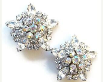 ON SALE Juliana DeLizza & Elster Clip Earrings Clear Rhinestone Aurora Borealis Large