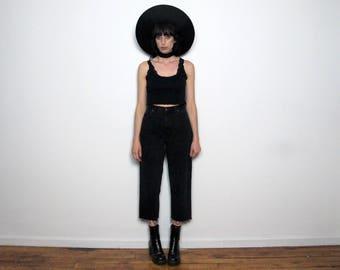 FRAY HEM Vintage BLACK Denim Jeans 90s High Waist Straight Leg Size 29
