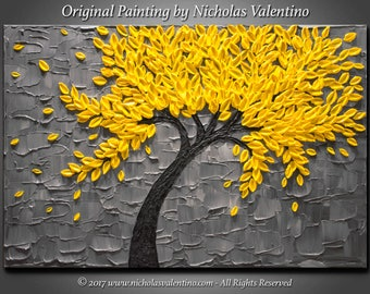 """Large 24""""x36""""x1.5"""" Original Blossom Tree Painting - Yellow & Gray - Palette Knife Impasto Textured - Gallery Stretched Canvas FREE SHIPPING!"""
